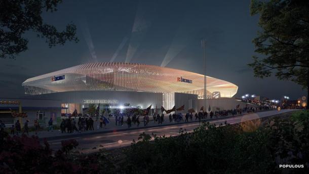 Diseño del West End Stadium  de Populous (cladglobal.com)