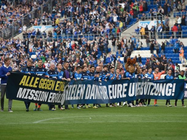 Hoffenheim pay thanks to their fans after a tough season. | Image credit: kicker - Getty Images