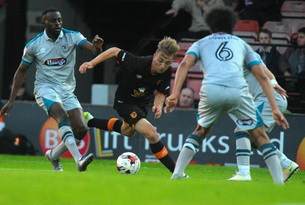 Hull's youngsters were lively but Grimsby matched them all the way (photo : Hull Daily Mail)