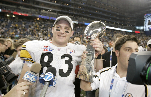 Heath Miller after the Steelers beat the Seattle Seahawks 21-10 in Super Bowl XL / Mike Ehrmann - NFLPhotoLibrary