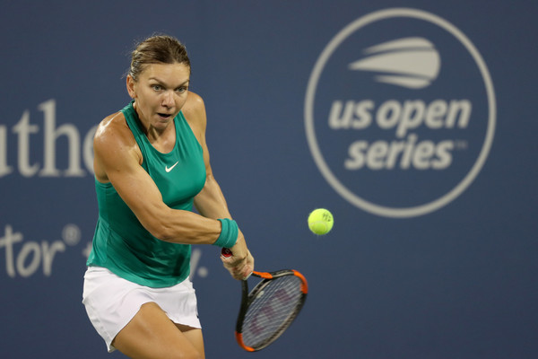 Simona Halep lines up a backhand during the late-night clash. Photo: Matthew Stockman/Getty Images