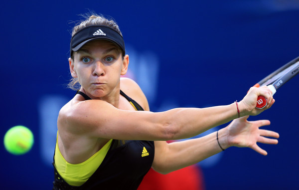 Halep stares down a backhand during her opening win in Toronto. Photo: Vaughn Ridley/Getty Images