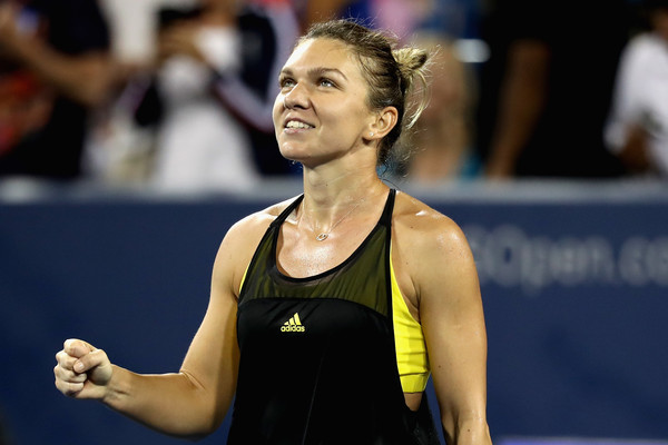 Halep celebrates her hard-fought win over Konta. Photo: Rob Carr/Getty Images