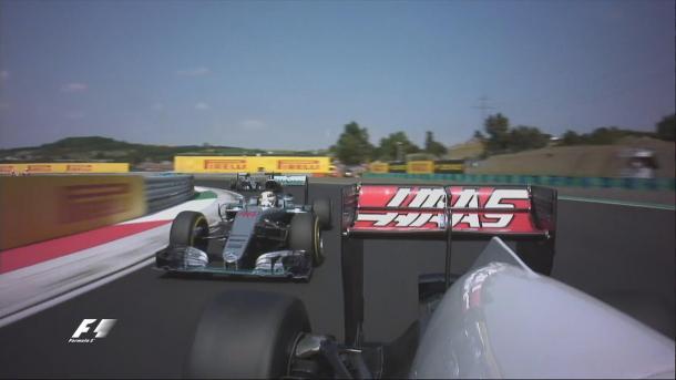 Gutiérrez segurou Hamilton e animou a briga pela vitória (Foto: Divulgação/F1)