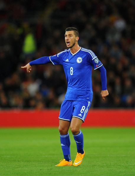 Medunjanin in action for the Bosnian national team Image Courtesy of Stu Forster/Getty Images Europe