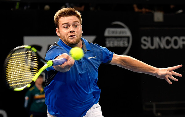 Ryan Harrison lunges for a forehand during his finals loss in Brisbane. Photo: Bradley Kanaris/Getty Images