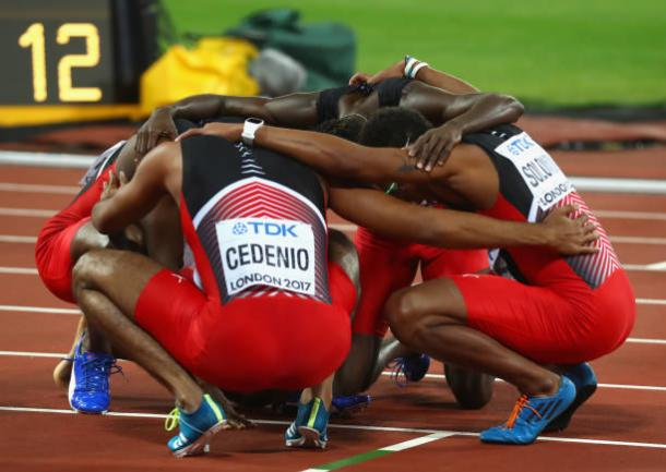 The Trinidadian quartet celebrate after taking gold (Getty/A;exander Hassenstein)