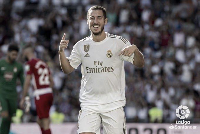 Hazard celebrando un gol con el Real Madrid | Fuente: LaLiga Santander.