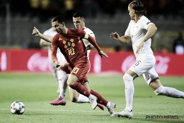 Com muita velocidade, Hazard foi um dos destaques da Bélgica no primeiro tempo (Reprodução / Belgian Football