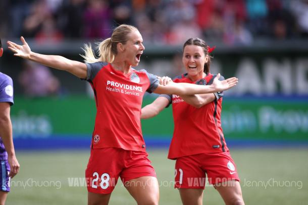 Amandine Henry celebrates the opening goal in the semifinal against the Orlando Pride | Source: Jenny Chuang - VAVEL USA