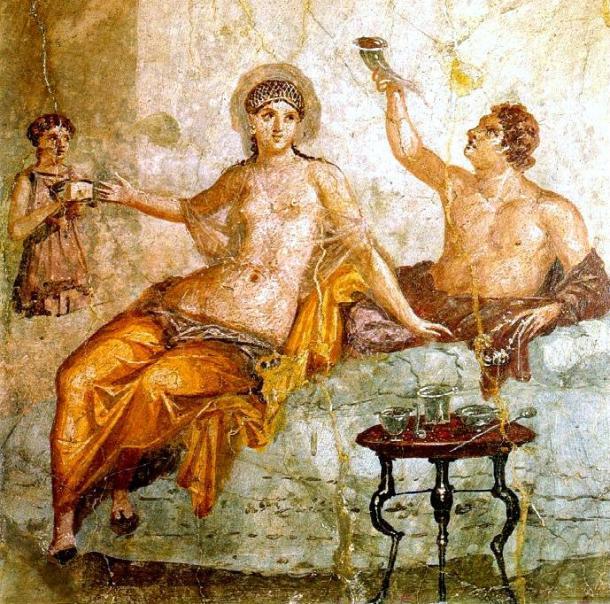 Fresco en una villa de Herculano. Publicación del Museo Nazionale di Napoli (PD).