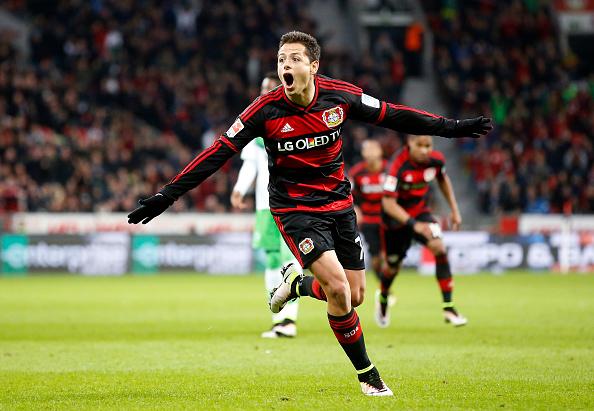 Hernandez celebrates scoring - Vfl Wolfsburg for Bayer Leverkusen | Photo: Mika Volkamnn/Bongarts