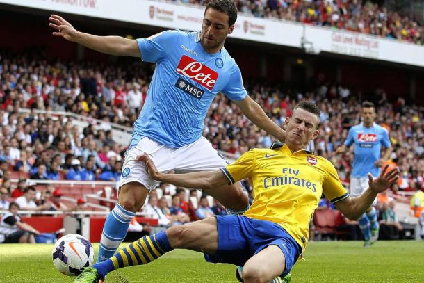 Higuain playing against Arsenal at the Emirates Cup. (Source: Standard)