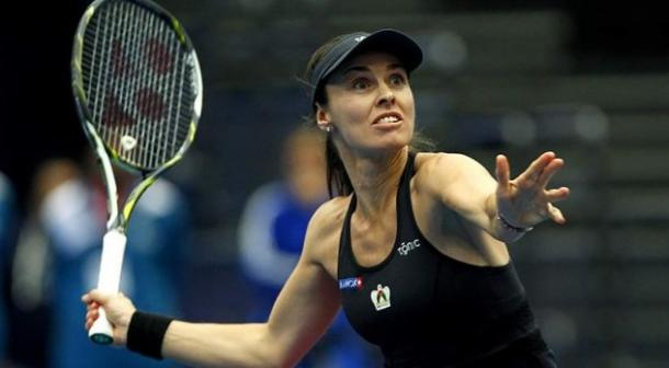 Martina Hingis lines up a forehand during her singles win. Photo: IPTL