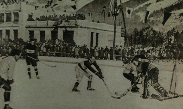 Prueba de Hockey sobre Hielo en los Juegos Olimpicos de Invierno de Chamonix 1924. PD.