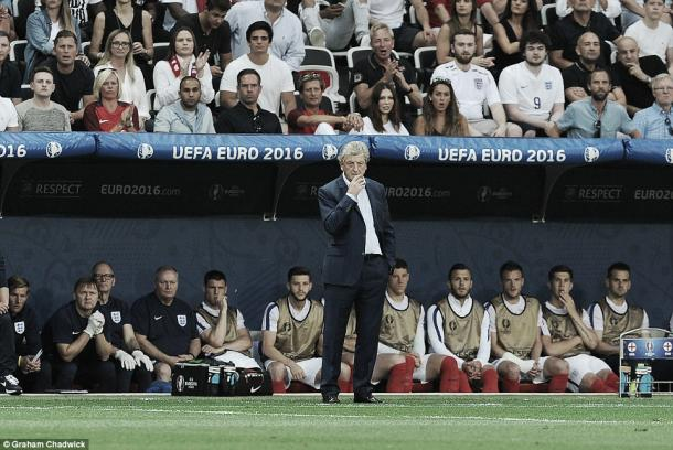 Roy Hodgson on the sideline in England's 2-1 defeat to Iceland | Photo: Graham Chadwick