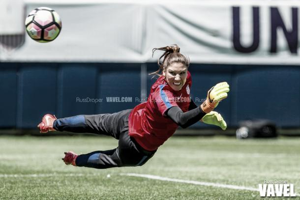 Hope Solo during warmups prior to the USWNT taking on South Africa | Source: Russ Draper - VAVEL USA