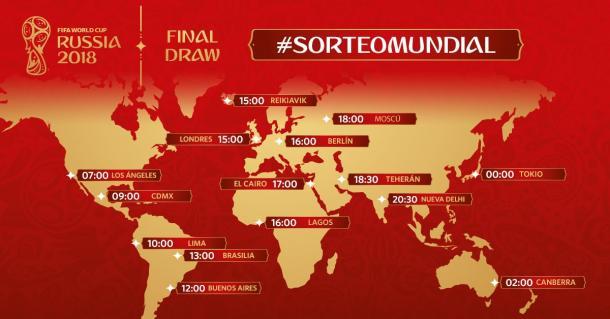 Horarios mundiales del sorteo. (Foto: FIFA.com)