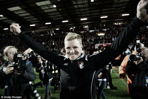 Above: Eddie Howe celebrating as coach of AFC Bournemouth | Photo: Andy Hooper