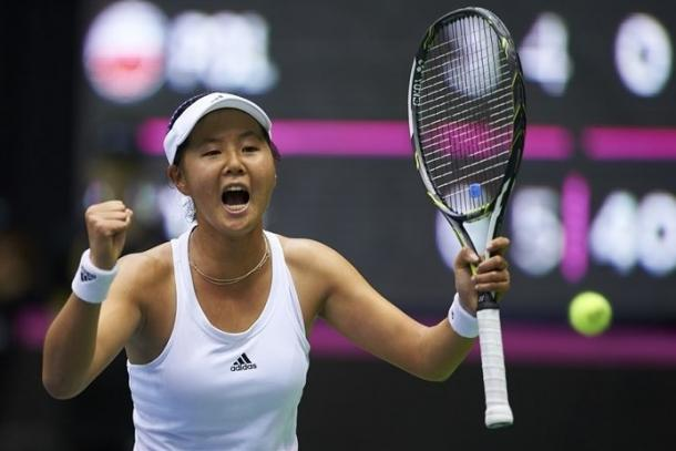 Ching-Wen Hsu celebrates her victory in the opening rubber. Photo: Adam Nurkiewicz/Fed Cup