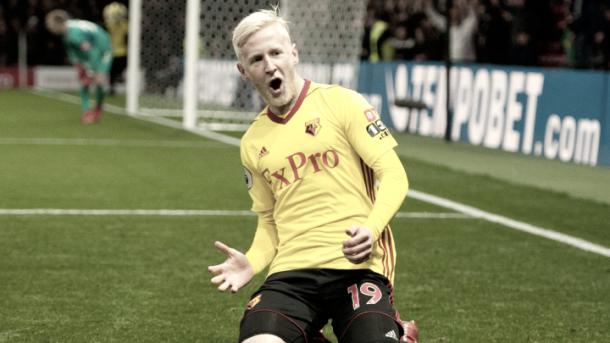 Hughes celebra su gol ante el West Ham. Foto: Web del Watford.