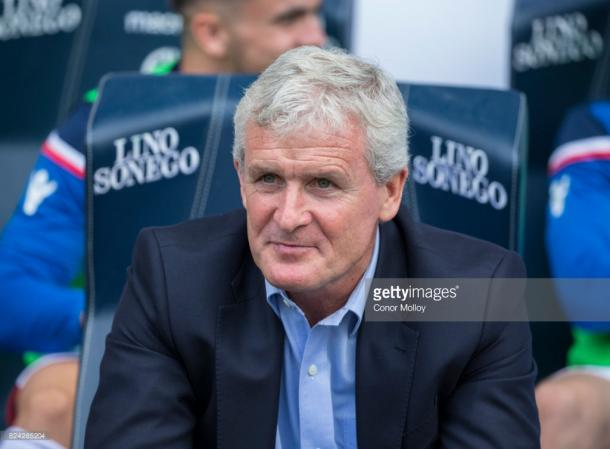 Mark Hughes during a recent pre-season friendly. Source - Getty Images.