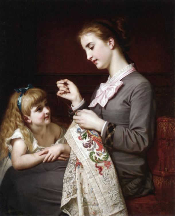 La Lección de Costura (circa 1880), de Hugues Merle (Wikipedia, PD)