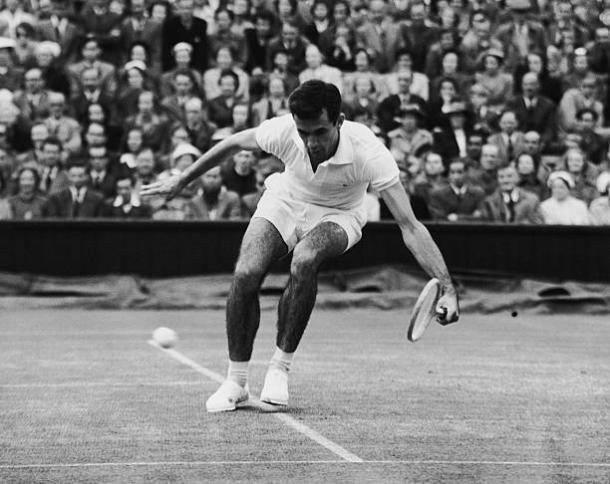 Mervyn Rose in action at Wimbledon back in 1954 (Hulton Archive/Central Press)