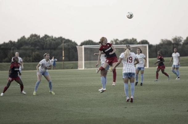 Midfielder Tori Huster representing the Spirit in a season match | Source: Chris Colvin - Washington Spirit