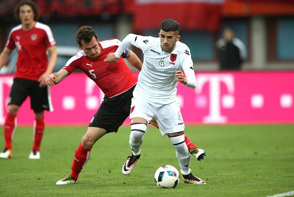 Hysaj (R) in action against Austria | Photo: Getty