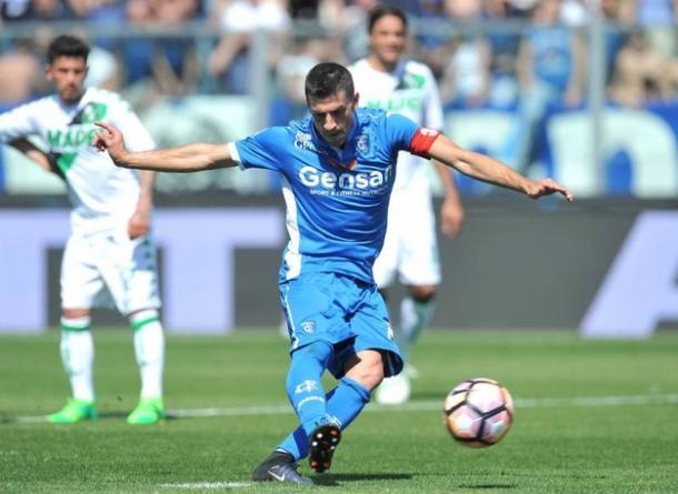 Il gol di Pucciarelli. Foto: La Nazione