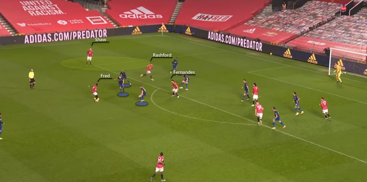 Build-up to Edinson Cavani's goal | Photo: BT Sport YouTube