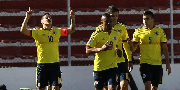 James celebrating the first goal source: futbolred