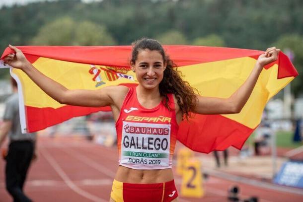 Sara Gallego tras ganar el bronce en 400mv en Boras. / Foto: Sportmedia.