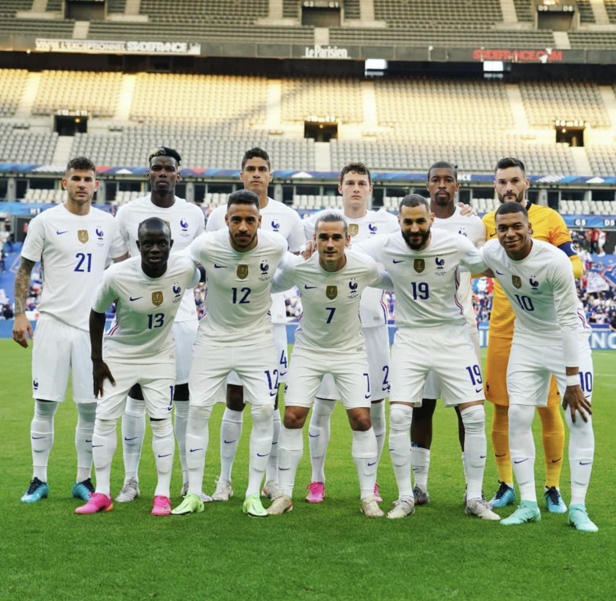 Selección francesa antes de un partido. Fuente: Instagram.com/equipedefrance