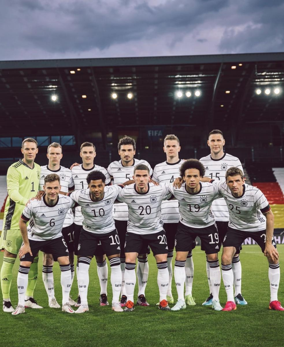 Selección alemana antes de un partido. Fuente: dfb_team