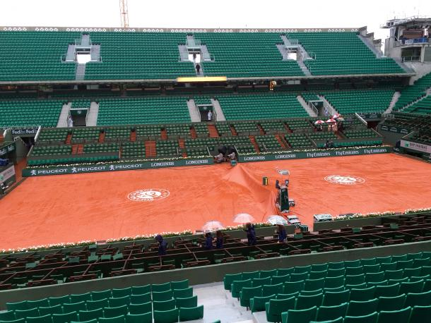 Court Philippe Chatrier was covered for most of days one and two due to the rainy conditions. Credit: Jake Best/VAVEL USA