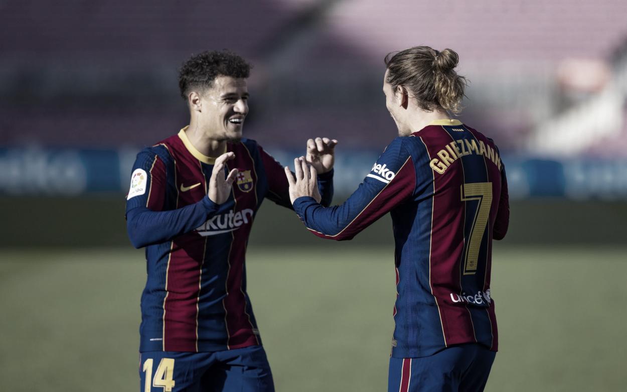 Coutinho y Griezmann en la celebración del gol ante el Osasuna. Foto: fcbarcelona.cat