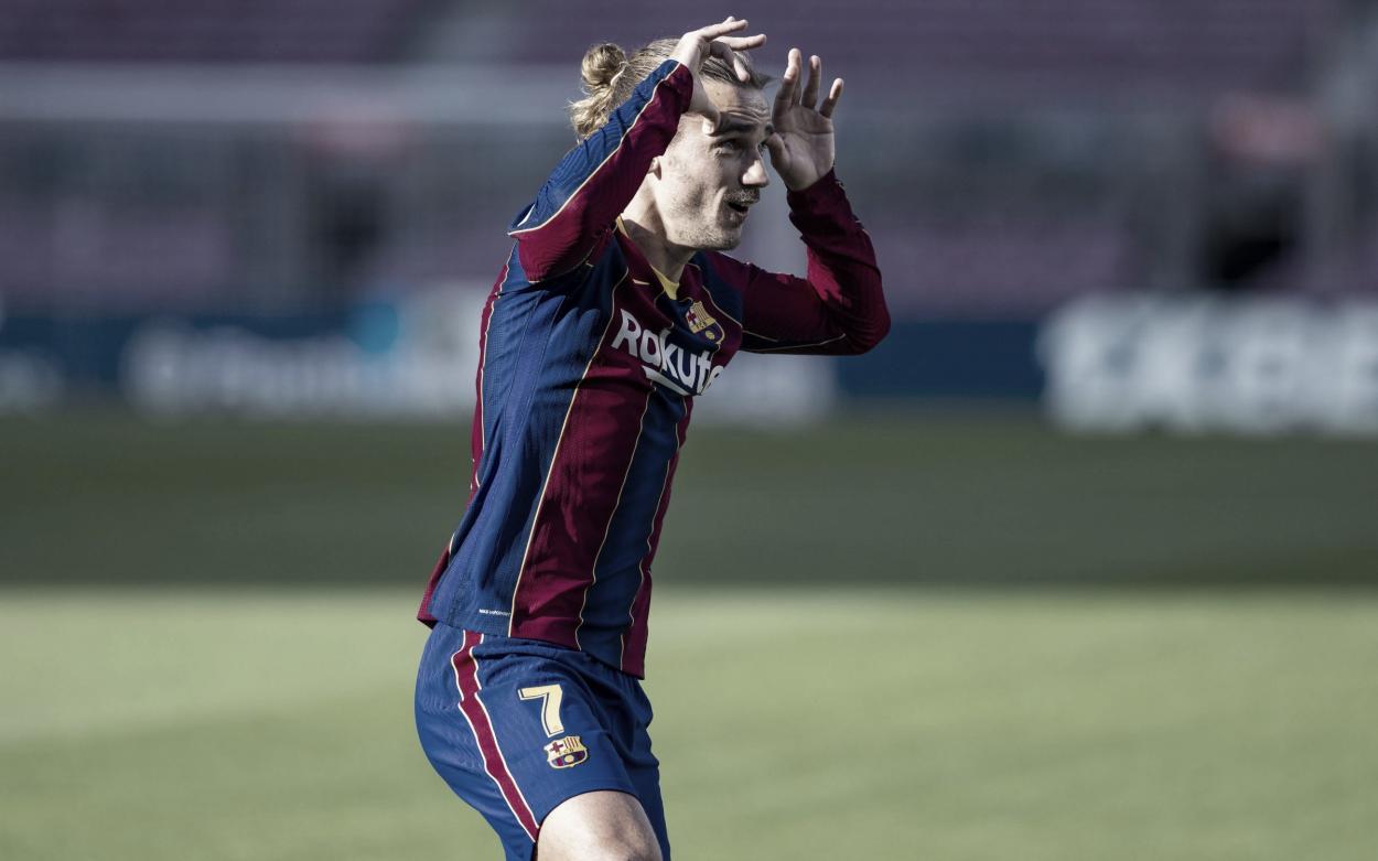 Griezmann en la celebración del gol que ha dedicado a su hija. Fuente: fcbarcelona.cat