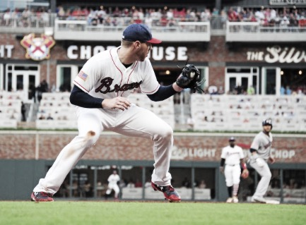 Freddie Freeman has played at third base for a few games after returning from the DL. This is the first time Freeman has professionally played the position. (Photo courtesy of: Scott Cunningham / Stringer via Getty Images)