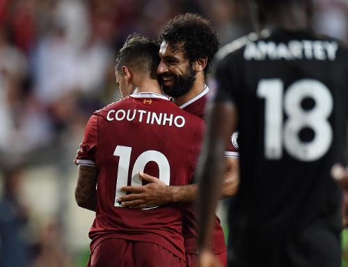 Coutinho y Salah durante un partido de pretemporada. | Imagen: Liverpool FC