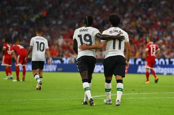 Mané y Salah tras un gol en pretemporada | Imagen: Liverpool FC