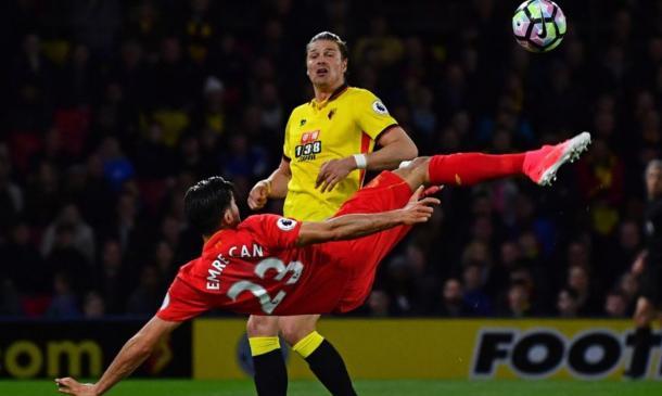 Imagen del gol de chilena de Emre Can ante el Watford | Imagen: Liverpool FC