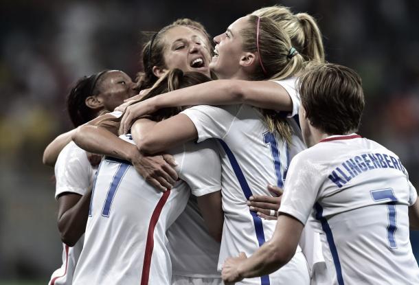 The United States celebrates Carli Lloyd scoring the eventual game-winning goal in the 63rd minute | U.S. Soccer