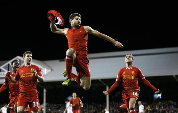 Gerrard celebrando uno de sus últimos tantos con el Liverpool | Imagen: Liverpool FC
