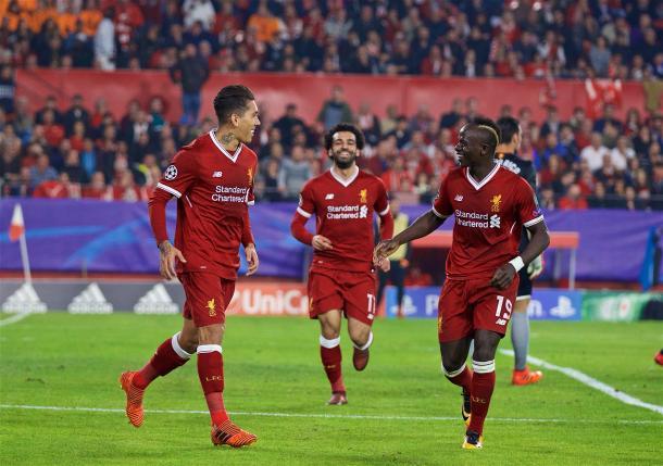Firmino, Salah y Mané celebrando un gol | Imagen: Liverpool FC