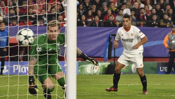 Ben Yedder anotando el primer gol | Imagen: Sevilla FC