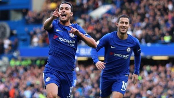 Pedro y Hazard celebrando un gol | Imagen: Chelsea FC