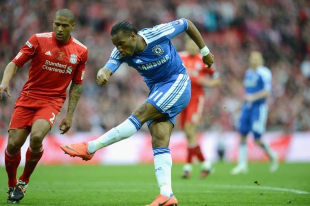 Drogba anotando un gol en la final de FA Cup ante el Liverpool | Imagen: Chelsea FC