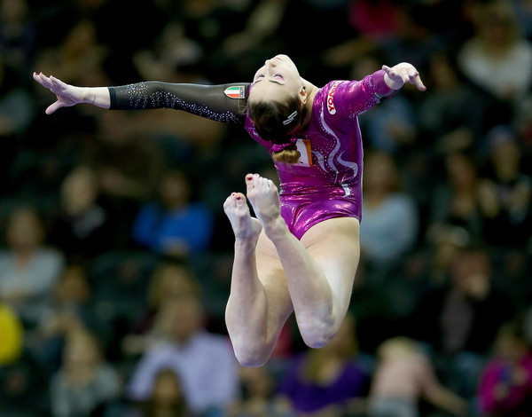 Carlotta Ferlito performs on the balance beam at the AT&T American Cup in Newark/Getty Images